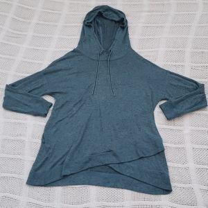Teal long sleeve shirt w/ hood